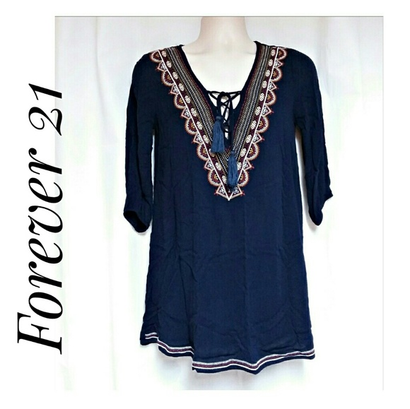 Forever 21 Tops - Embroidered Boho Tunic Size Small Navy